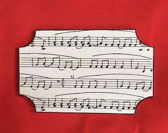 Black and white music door plaque