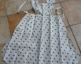 Beautiful linen French Pinafore Apron Vintage 1950s but NEW