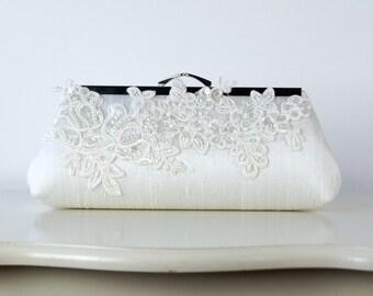 Alencon  Lace Applique Silk Clutch, wedding clutch, wedding bag, bridesmaid clutch, Bridal clutch, Purse for wedding