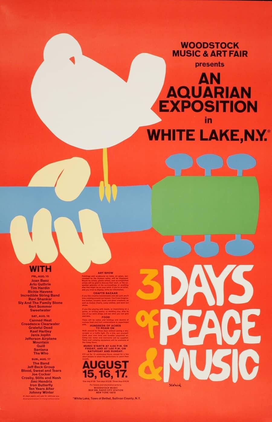 Vintage Musik Kunst Poster  Woodstock  0160