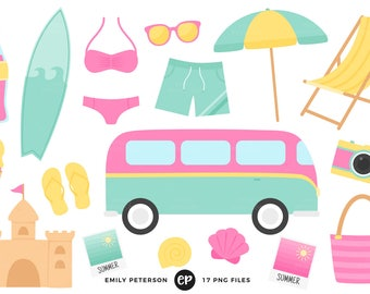 50% OFF SALE! Beach Clip Art, Summer Clipart, Ocean Clip Art - Commercial Use, Instant Download