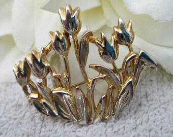 Vintage Gold-tone Tulips Brooch