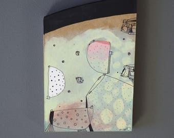 Hardboard placemats, painting, art brut