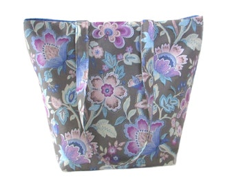 Floral Tote Bag, Gray Fabric Purse, Blue Floral, Pink Flowers, Handmade Handbag, Cloth Purse, Shoulder Bag