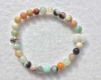 Amazonite and Quartz Zuni Bead Gemstone Bracelet