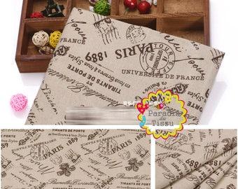 1 x coupon 50x145cm paris 1889 printed pattern pure linen fabric
