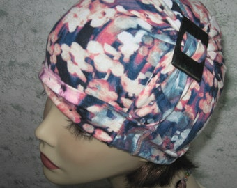 Womens Hat With Side Drape And Buckle Muted Floral Print Blue Coral And Mauve Fabric Chemo Hair Loss Cap Bad Hair Day Hat One Size Fits Most