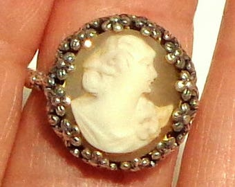 Size Adjustable, Hand Carved Cameo Ring, Sterling Silver Ring, Vintage Conch Shell Cameo, New Sterling Silver Ring, OOAK