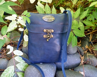 Handcrafted  bag, Shoulder bag, Genuine leather bag, Handcrafted, bag, Leather, Cross body bag, moondance, iphone bag, Big pouch navy blue