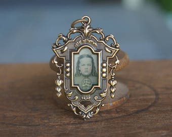 French Brass Stamping Ornate Baroque Frame with 1860s Original Tintype Photo fo a Young Girl Pendant Handmade Supply