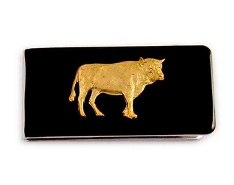 Bull Money Clip Inlaid in Hand Painted Black Enamel Taurus Zodiac Sign Money Holder Custom Colors and Personalized Options