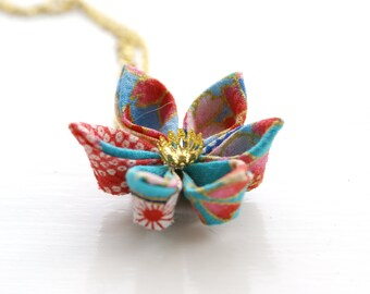 Turquoise Flower Necklace - Japanese Necklace - Kimono Necklace - Origami Necklace - Kanzashi Flower Necklace - Fabric Flower Womens Jewelry