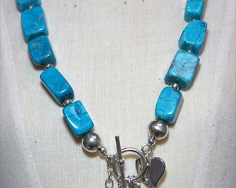 Sterling silver and Turquoise nuggets necklace