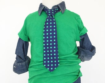Navy with Green Dots Necktie | Boys