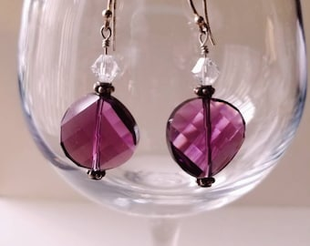 Amethyst Swarvoski Twist Bead Wire-wrapped Earrings
