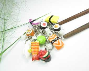 Sushi Bracelet Charm - food sushi jewelry, polymer clay charm bracelet, sushi collectible, food jewelry, food bracelet, Japanese, miniature