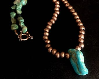 Copper and Turquoise Necklace, copper necklace, turquoise necklace, native copper necklace, tribal copper necklace, copper