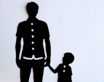 Father and Son Paper Die Cuts, Father's Day Cut outs, Dad and Son Silhouettes. 10 pcs.