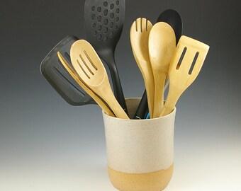 Ceramic Utensil Holder, Kitchen Crock, Wedding Kitchen Gift, Kitchen Organization, Pottery Utensil Holder, Bridal Shower Gift Spoon Holder