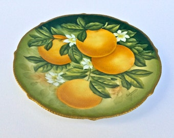 Giovani Hand Painted Bavarian Porcelain Plate (Oranges Motif)