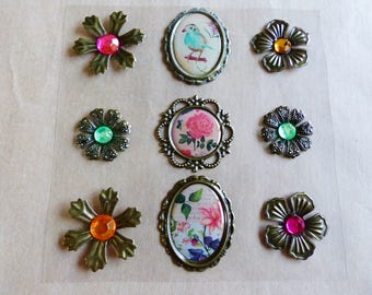 9 sticker relief style jewelry vintage old antique frame bird flower rose cabochon with Pearl sticker