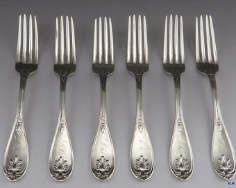 Antique 1830's-1840's Issac Alexander Pure Silver Dinner Forks (6)