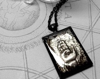 Hand Shield : hand embossed repoussé metal pendant necklace
