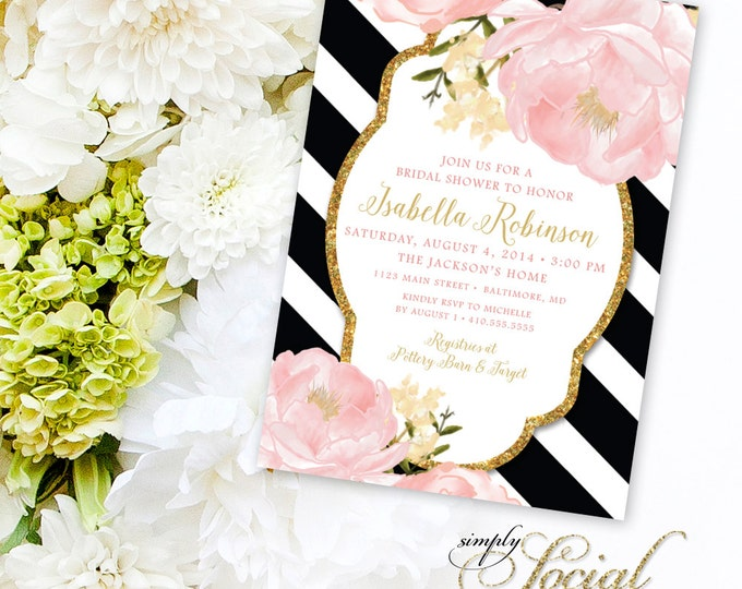 Peony Bridal Shower Invitation - Peony Flowers Blush Pink and Gold Black and White Stripes Custom Personalized PRINTABLE