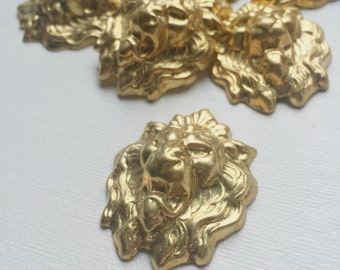 Vintage Gold Lion Charm Brass Stamping - PA1028