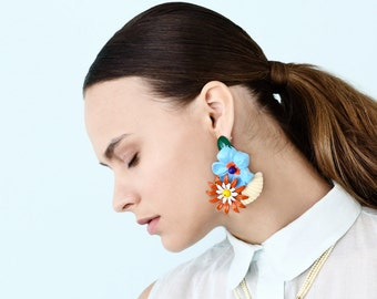Party Earrings, Big Chunky Statement Earring, Bold Colorful Flowers earrings, Unique Women's Oversize Jewelry Party Earrings