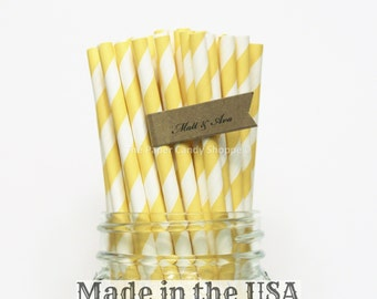 Yellow Paper Straws, 50 Yellow Straws, Rustic Wedding straws, Baby Shower Made in USA Vintage Party Lemonade Party Supplies Striped Straws,