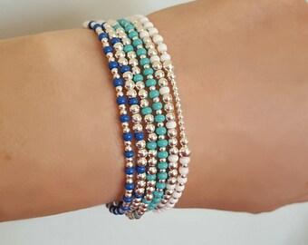 Alexia Jewellery, Sterling Silver Bead Bracelet, Stretch Bracelet, Stacking Bracelet, Beaded Bracelet, Sterling Silver, Seed Bead, Turquoise