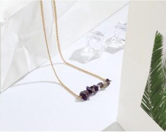 Amethyst necklace healing crystal choker,amethyst Necklace,  Necklace,February Gemstone Necklace, purple crystal Necklace, amethyst necklace