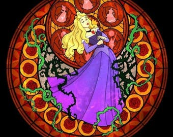 Sleeping beauty aurora rose cross stitch digital Pattern medallion stained glass kingdom hearts