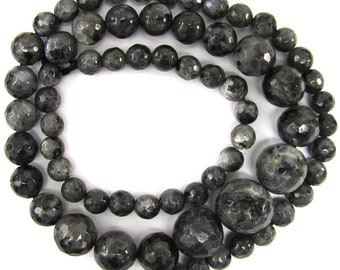"6-13mm faceted grey labradorite larvikite round beads 18"" strand 35291"