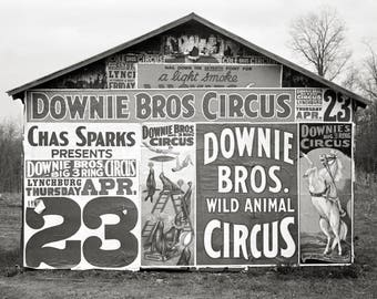 Circus Billboards, 1936. Vintage Photo Reproduction Poster Print. Black & White Photograph. Barn, Advertising, Carnival, 1930s, 30s.