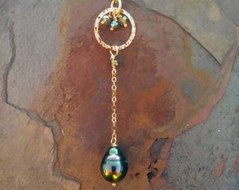Peacock Tahitian Pearl Lariat-style Necklace