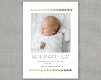birth announcement // modern // baby // gender neutral // boy // girl // hipster // tribal // triangles // pattern // gold foil