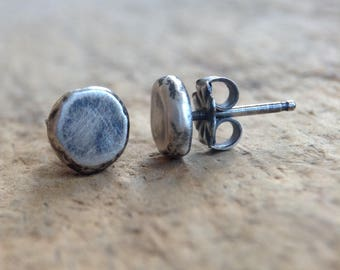 Antique Silver Pebble Earrings, Sterling Silver Stud Earrings, Silver Post Earrings, 925 Stud Earrings, Sterling Studs, Bohemian Jewelry