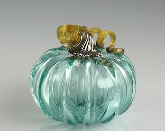 "3.5"" Glass Pumpkin by Jonathan Winfisky - Transparent Emerald Green - Hand Blown Glass"