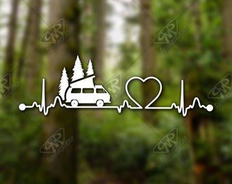 DECAL [Heartbeat Westy] Westfalia Vinyl Decal, Bumper Sticker, Car Window Decal, Car Decal, Laptop Decal, Westy Decal, Water Bottle Decal