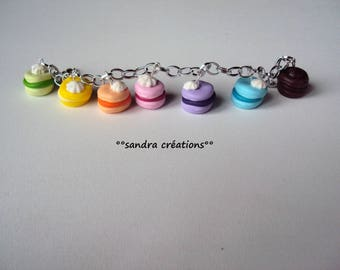 pastel macarons with whipped cream charms bracelet