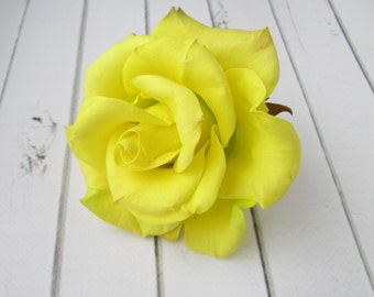 Yellow Rose Hairpin - Flowers hair pin - Flowers hair accessories - Foam handmade flowers - Lemon flowers hair decoration - Hair Accesories