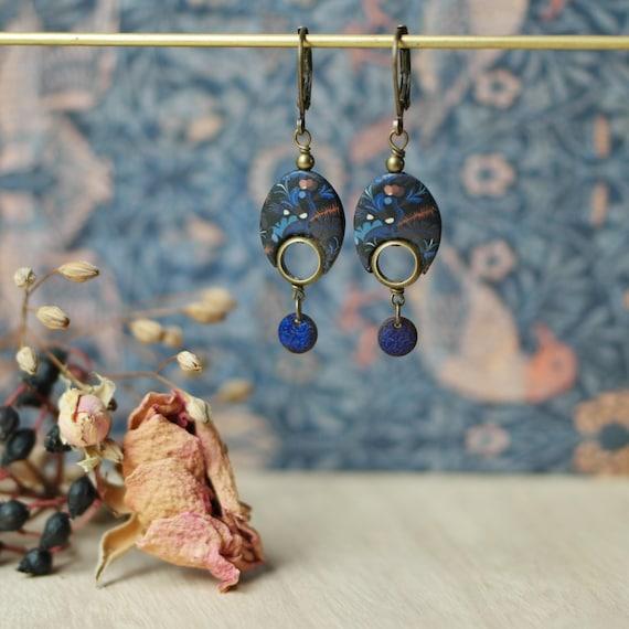 Dark blue, pendant oval earrings 'Nelumbo', vegetal patterns, brass earrings, minimal design earrings