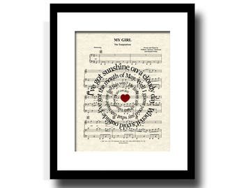 My Girl by The Temptations Spiral Song Lyric Sheet Music Art Print, Art For Girls, Girls Nursery Art, Classic Song Art, Music Wall Art