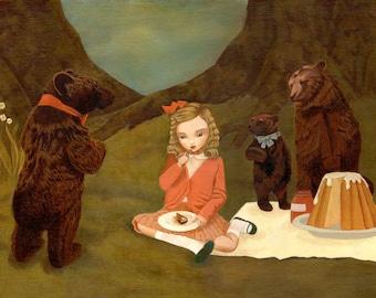 Goldilocks & The Three Bears Print 10x8 - Children's Art, Girls Room Art, Nursery Art Girl, Girl Art Print, Fairytale Art, Poster, Kids