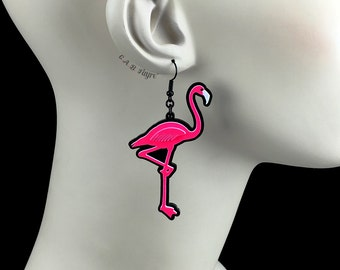Neon Hot Pink Flamingo Earrings / Laser Cut Acrylic Flamingo Earrings (C.A.B. Fayre Original Design)