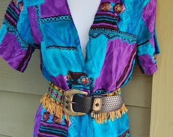 Vintage 80s Mikaela Tribal Abstract Short Sleeve Jacket Top Shirt Size Small