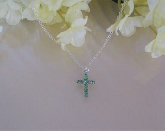 August Birthstone Cross Necklace-August Birthstone Necklace-Cross Necklace-Christmas Jewelry-Confirmation Jewelry-Religious Necklace