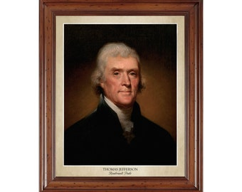 Thomas Jefferson portrait by Rembrandt Peale; 16x20 print on premium photo paper displaying the artist's name